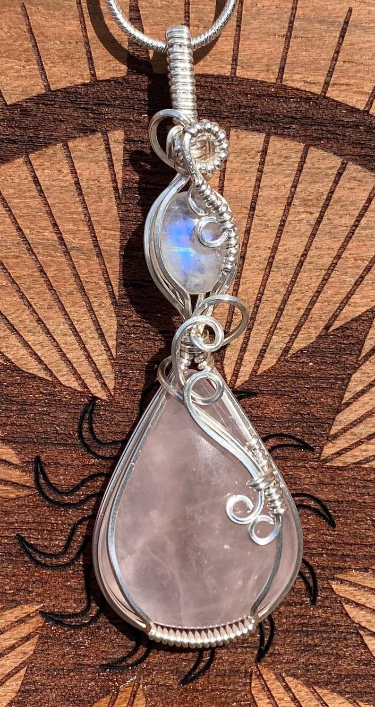 Rose Quartz with a rainbow moonstone accent stone pendantrose quartz pendantmoonstone pendantrose Quartz /& moonstone necklacehandmade