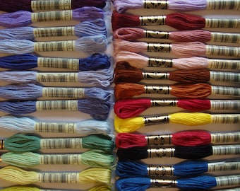 matches DMC numbers 200 or 447 x Embroidery Thread Skeins 8.7y Set of 24 150 random most popular colors 100 no duplicates. 50