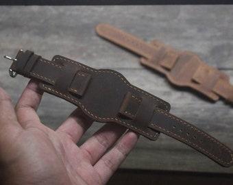 Handmade Vintage Brown Leather Bund Strap Watch Band Watch Bracelet 18/20/22mm