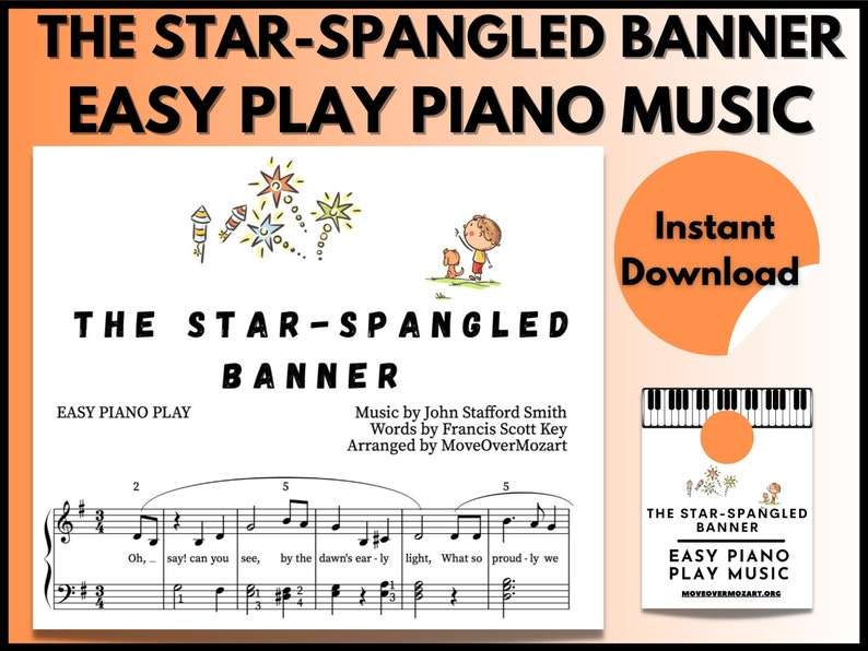 The Star-Spangled Banner  Piano Sheet Music  Instant DIGITAL image 0