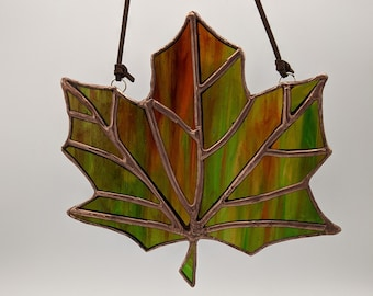 """Stained glass maple leaf suncatcher, autumn leaves, fall leaves, glass leaf - Multiple Colors - approximately 5"""" x 5.5"""" - Ready to Ship"""