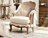 French solid wood rattan single CHAIR Retro High Back sofa