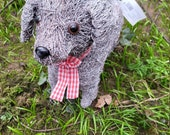 Gorgeous grey brushwood dog planter, suitable for indoor or outdoors