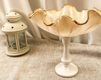 Resin bowl on a pedestal for candy and fruit. Tall serving bowl made of epoxy resin. Bowl white with gold Gift for bride or Christmas gift.