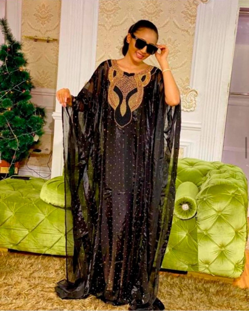 1920s Formal Dresses & Evening Gowns Guide Black Hand beaded stoned luxury embroidered chiffon fabric Dubai Kaftan wedding dress with head tie $149.95 AT vintagedancer.com