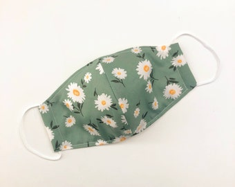 Green Daisy Facemask   Adults or Kids