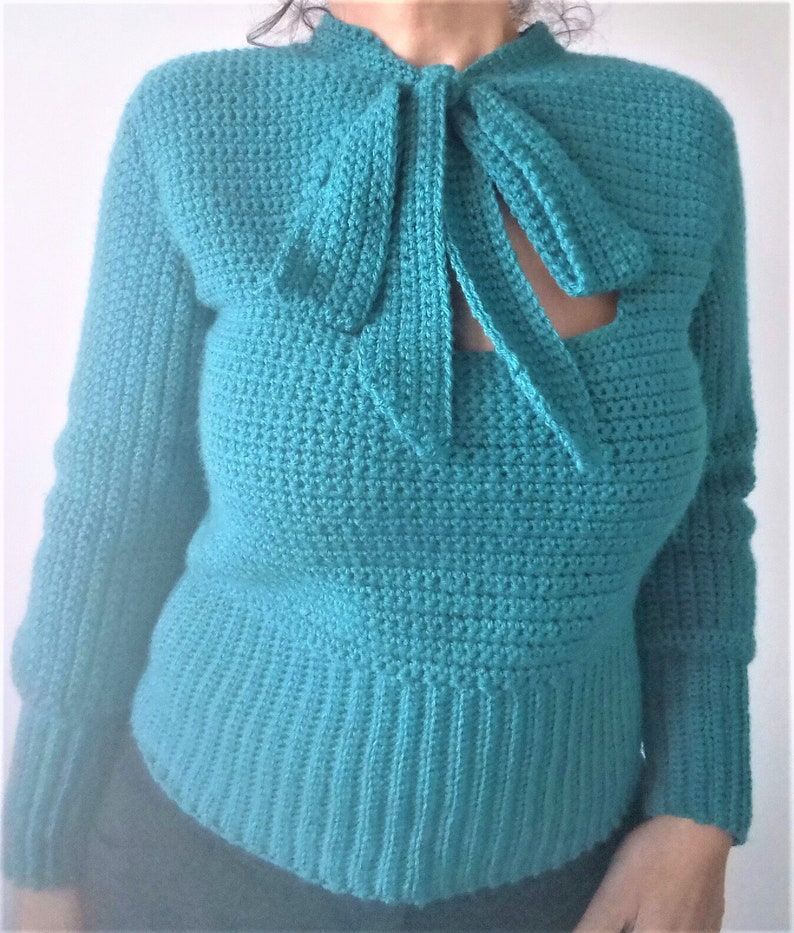 Pussy Bow Sweater Printable PDF crochet pattern