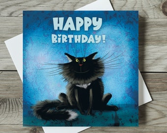 Black Cat Birthday Card, Cute Cat Card, Cat Lovers Card, Cat Lover Birthday Card with Cats,Cat Greeting Card,Happy Birthday Cat - Sylvester