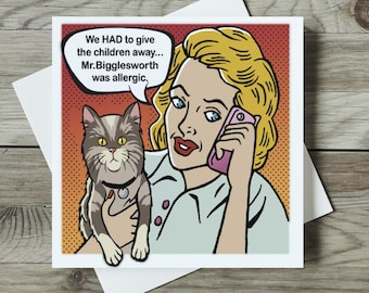 Funny Cat Card for Cat Lover, Cat Lady Card, Cute Cat Card, Cat Lover Card with Cats, Humorous Cards Cats - Mr Bigglesworth