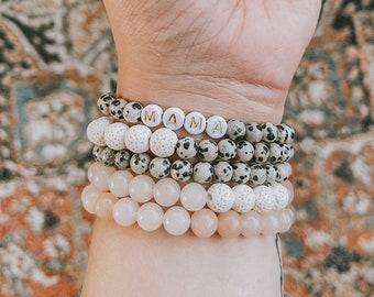 Beaded bracelets/ gemstone/ mama bracelet/ oily bracelet/ lava stone