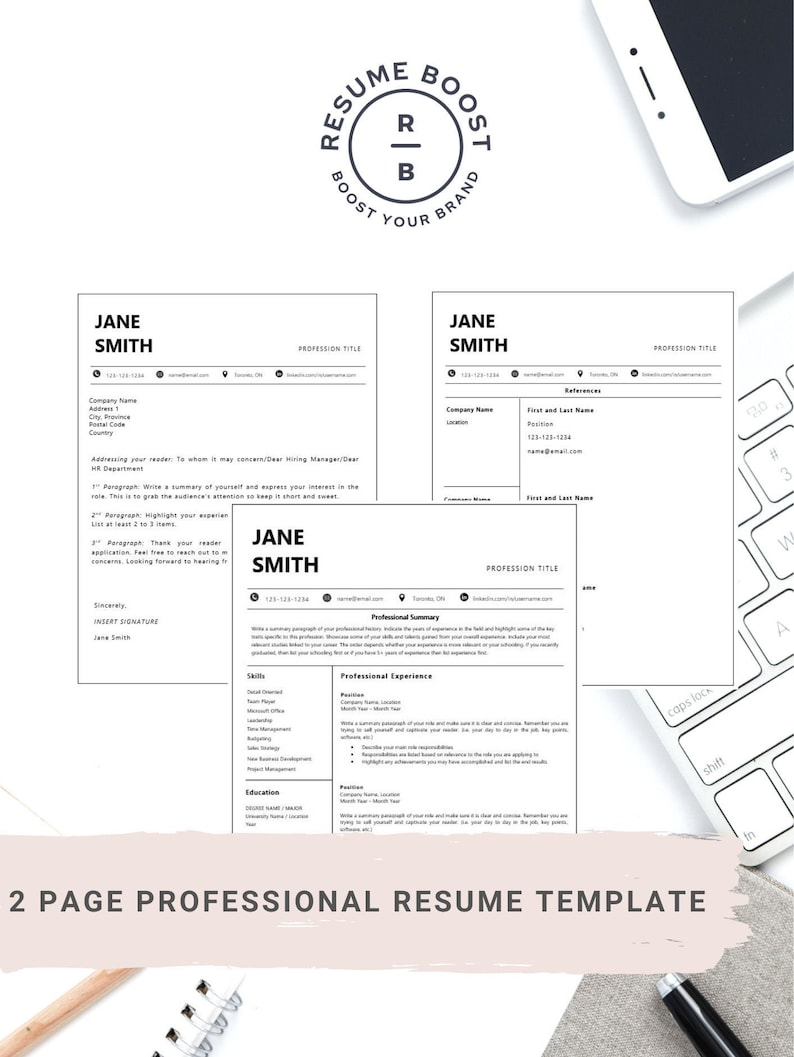 Instant Download Modern Frame Professional Resume Templates in letter size for Word