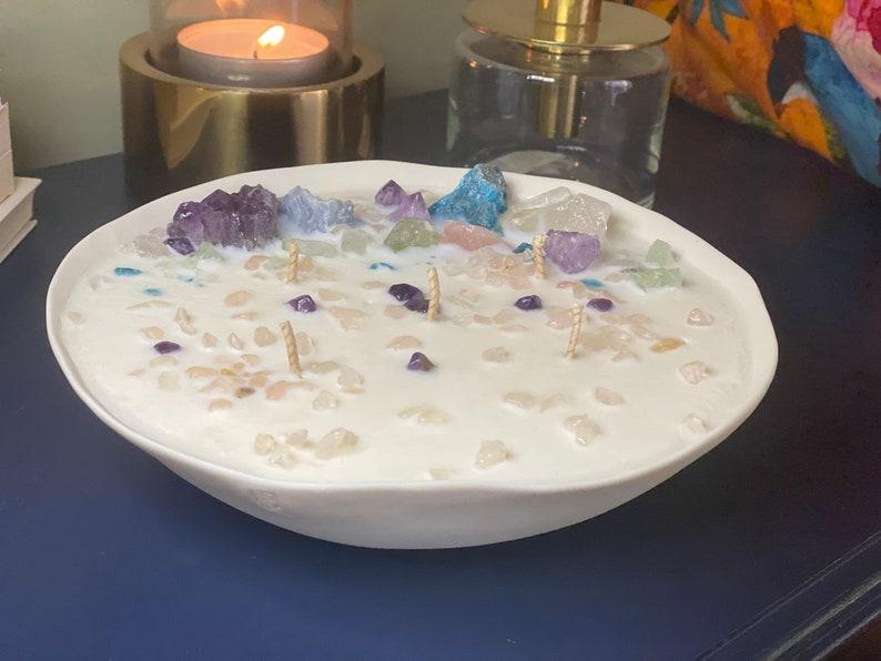 Crystal candle in artisan designer ceramic Vanilla and Palo Santo extra large luxury