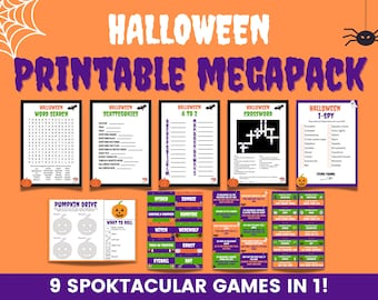 Halloween printable games megapack - The ultimate printable Halloween games collection   14 Halloween party games   Family Halloween games