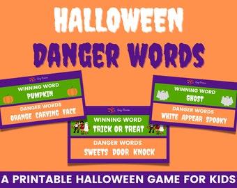 Halloween danger words   Printable Halloween speaking game   Kids Halloween ideas   Halloween party game   Family Halloween game