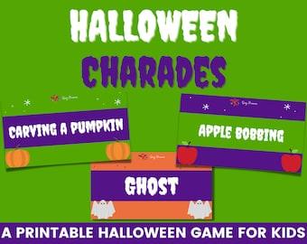 Halloween charades printable cards   Printable Halloween game   Kids Halloween ideas   Halloween party game   Family Halloween game