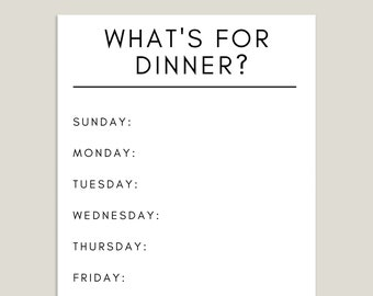 Dinner Planner Printable + 7 Day Meal Planner + What's For Dinner?