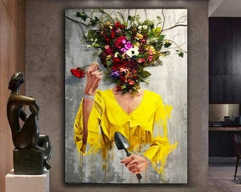 Flowers Women Canvas, Art Prints, Canvas Wall Art, Canvas Framed Prints, Home Decor, Wall Decor, Extra Large Canvas