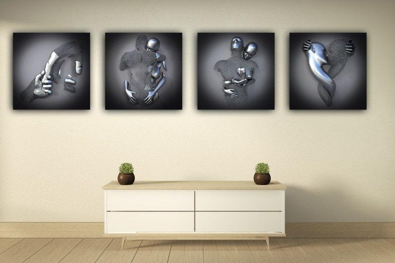 Set of 4 Modern Home Decor Canvas Art Print Canvas Pictures image 2