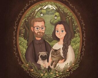 Custom Couple Portrait, Couple illustration, Family Portrait Illustration, Anniversary Gift, Cute Style, Pet Portrait, Wedding Gift
