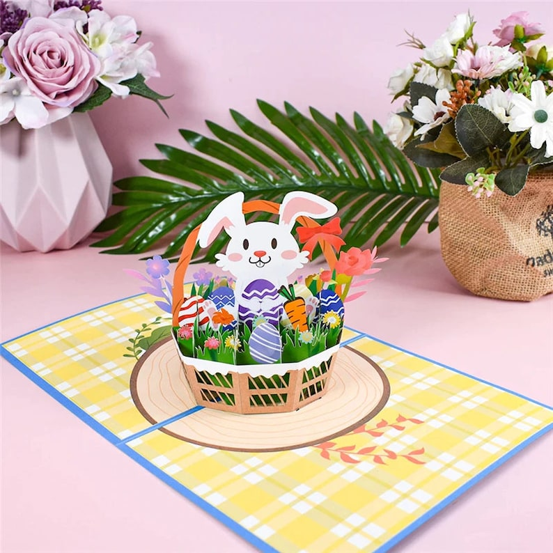 Easter Bunny in Basket Pop Up Greeting Card image 0