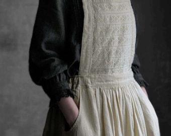 Linen Embroidery Apron Dress Mori Girls