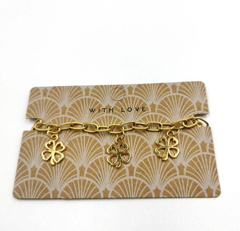 Bracelet With Lucky Clovers Pendants For Women