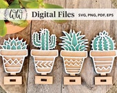 DIGITAL FILE ONLY for 4 small succulent clay pots with bases Glowforge, Laser Cutter Svg, Png, Eps, Pdf Personal Commercial