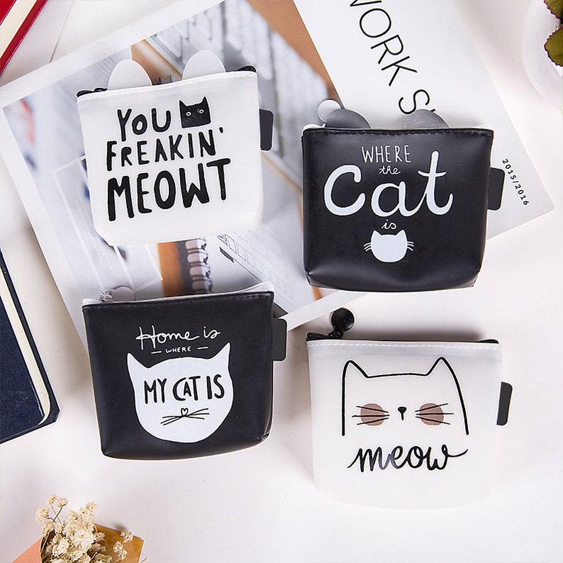 Cat Lover Bag White Black Cat Ear Coin Purse Key Small Zipper Wallet Women Jelly Glue TPU Meow Cute Kawaii Funny Slogan Pouch