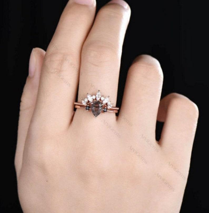 Black Rutilated Quartz Ring-Gemstone Ring-Black Rutilated Quartz Engagement Ring-Quartz Ring For Her-Sterling Silver Ring-Bridal Ring Set
