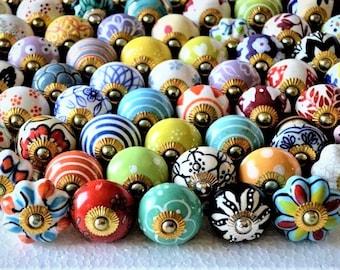 Assorted Multicolored Ceramic Porcelain Door Pull Knobs Various Designs Kitchen Cabinet Drawer knob Vintage drawer Pull