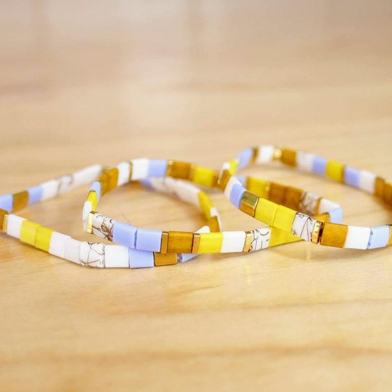 Mustard Yellow Sold Per Bracelet Riley Collection Gold Boho Bracelet   Periwinkle Blue Modern Tile Bracelet Tila Bracelet