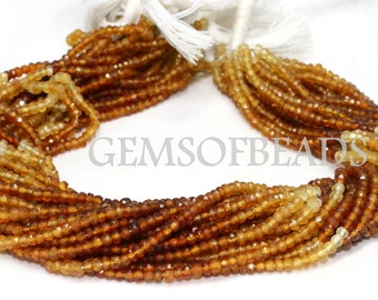 Hessonite Faceted Beads Hessonite Beads Size 2-2.5mm 13 Inches Long Strands 5 Strands AAA Quality Hessonite Rondelle Gemstone Beads