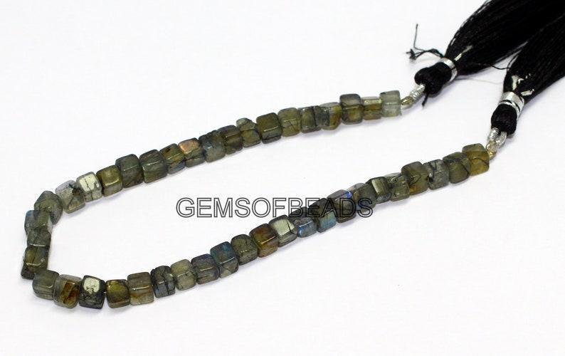 AAA Beads Cube Shape Labradorite Beads Smooth Labradorite 3D Box Beads 8 Inch Strand 4-5mm Natural Labradorite Beads Labradorite Beads