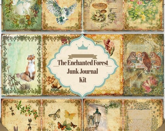 """Junk Journal Kit """"The Enchanted Forest"""" - 21 Printable journal pages - Instant download scrapbook ephemera"""