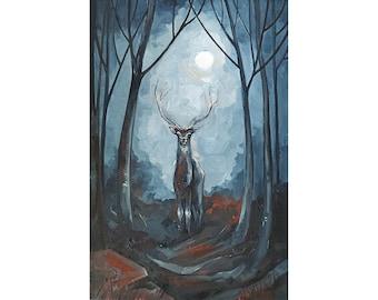 Deer Painting Original Art Dark Forest Painting 12 by 8 Fantasy Landscape Night Artwork Halloween Wall Art by AlyonArt