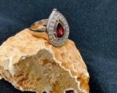 Natural Garnet Silver Ring, Wedding Ring, Pear Shape Ring, Engagement Ring, Anniversary Ring, January Birthstone Ring, Handmade Silver Ring