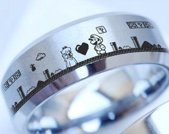 Princess Peach and Mario Wedding Ring, Super Mario Wedding Band, Gamer Jewelry, Geek Gift, Super Mario Engagement Ring, Super Mario Gift