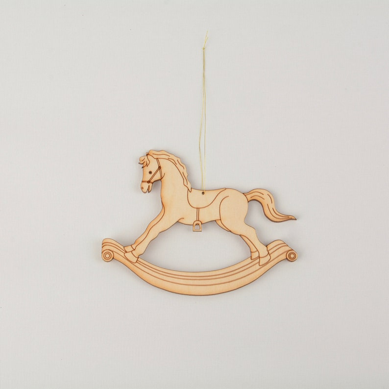 Traditional Hand Painted Wooden Rocking Horse Decoration
