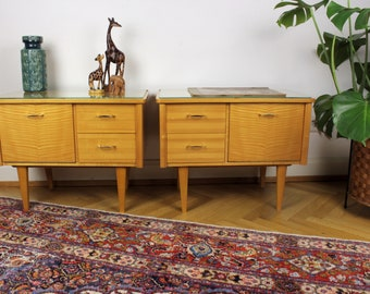 1 of 2 Midcentury Bedside Table Chests of Drawers Vintage Design 50s Rockabilly