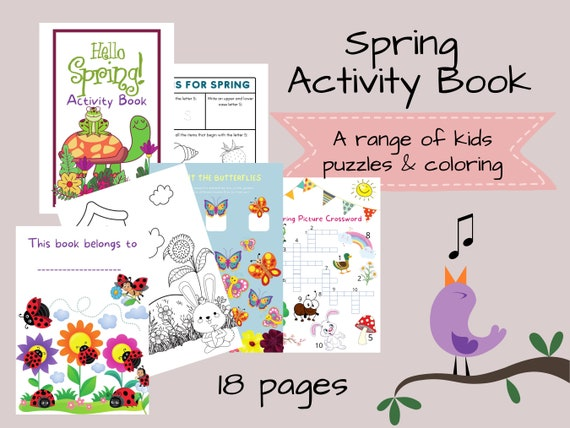 Spring Kids Activity Book 18 Page Printable A4 PDF Instant