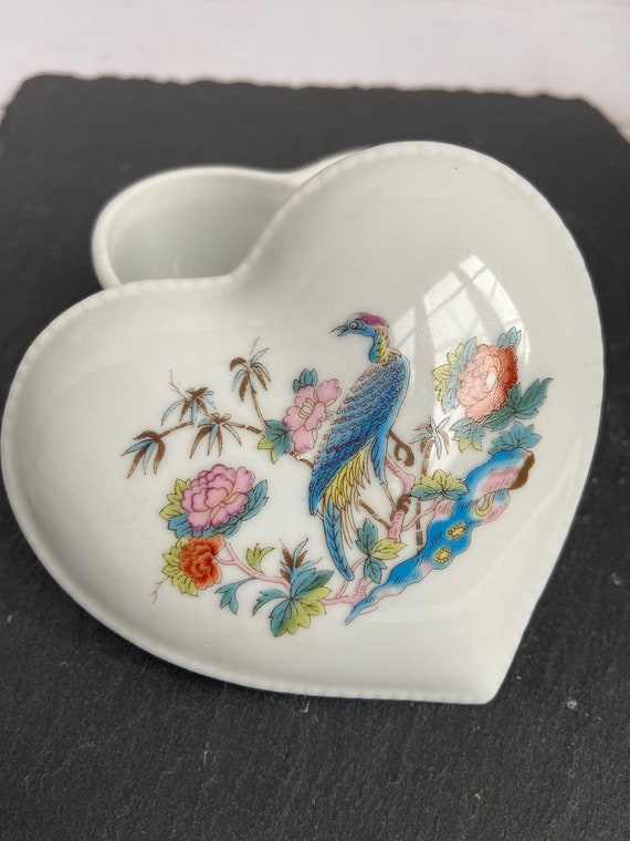 Bohemian Jewelry Storage Vintage Japan Heart Shaped Butterfly White Ceramic Ring Dish Vintage Jewelry Display