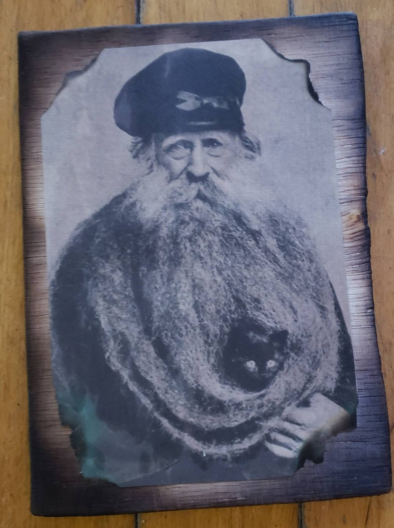 Rustic Print of Vintage Postcard on a Wooden Panel.