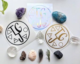 TGJ Alchemy Element Symbols Vinyl Decal Circle Design - Tarot Guidebook Journal, Tarot, Alchemy, Matching Journal Stickers,