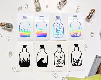 Spell Bottles Element Symbols of Alchemy Vinyl Decal, Fire, Water, Air, Earth - Minor Arcana Suits, Tarot, Alchemy, Sticker, Decal, Magick
