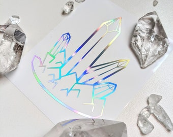Crystal Point Cluster Vinyl Decal Holographic, Crystal sticker, Tarot Guidebook Journal, Tarot stickers, Crystal cluster, harness your power