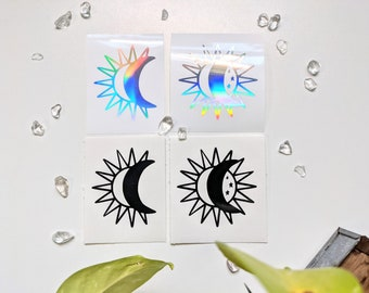 Sun & Moon Vinyl Decal, Sun, Moon, Stars, Tarot, Sticker, Lovers, Tarot Guidebook Journal, Tarot stickers, Moon Outline, Sun outline, cosmos