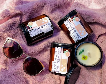 Summer Time Cocktail 100% Soy Candles   Mango and Coconut Milk Candle