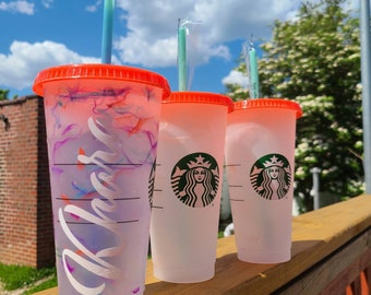 Starbucks Color Changing Summer 2021 Marble Reusable Cold Cup 24oz   Limited Edition   Custom