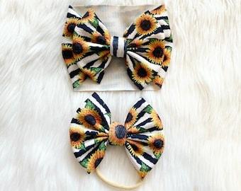 Sunflower Bow hair bow clay bow center girls bows