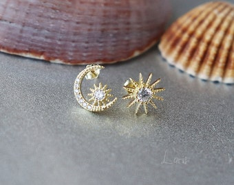 925 Sterling Silver 14k Gold Plated Stud Earrings MOON and STAR Women Gift